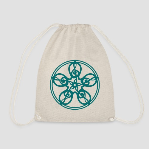 Treble Clef Mandala (teal) - Drawstring Bag
