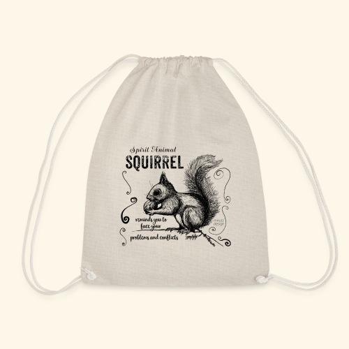 Spirit Animal Eichhörnchen schwarz - Turnbeutel