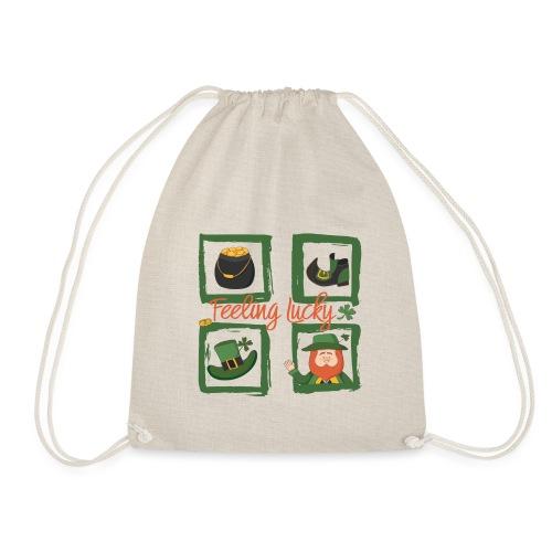 Be happy - feeling lucky St. Patricks day - Drawstring Bag