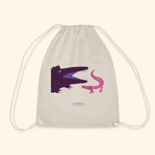 Purple crocodile and pink lizard - Drawstring Bag