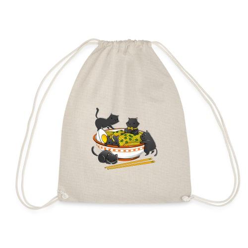 Kawaii Vintage Style Japenese Ramen Cat - Drawstring Bag