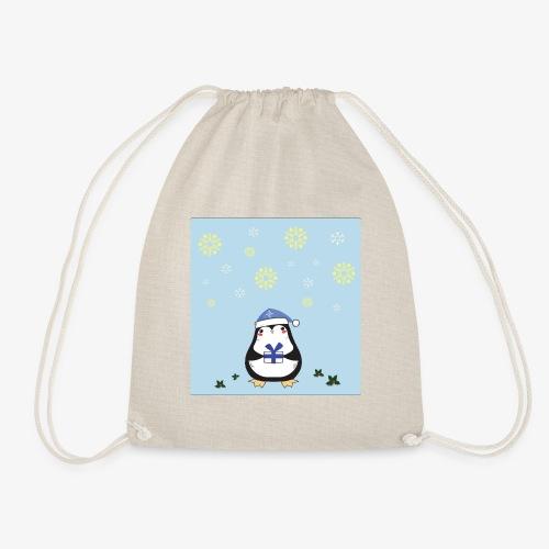 pingouin de Noel sur fond bleu - Sac de sport léger