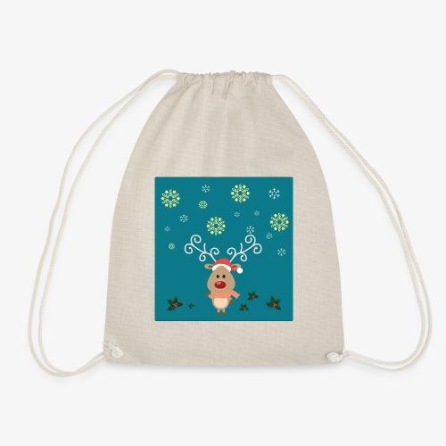 little deer blue background - Drawstring Bag