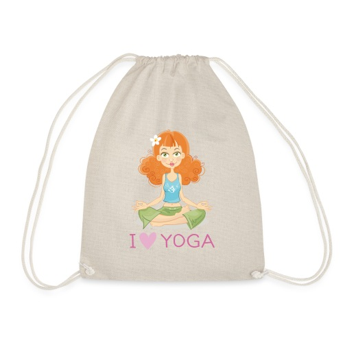 Yoga Lotus Pose Cartoon Girl - Turnbeutel