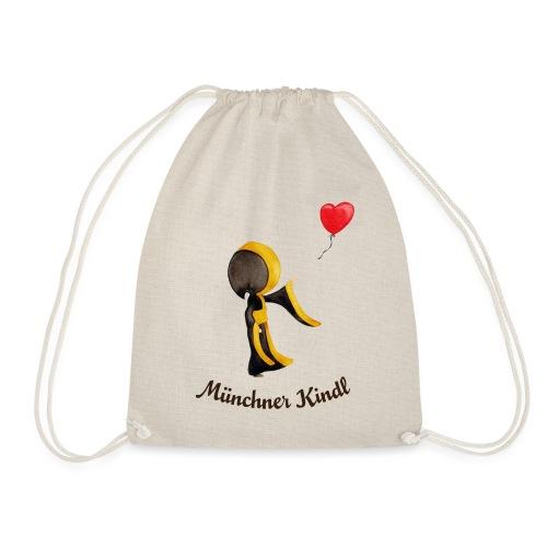 Münchner Kindl mit Herz-Luftballon und Text dunkel - Turnbeutel
