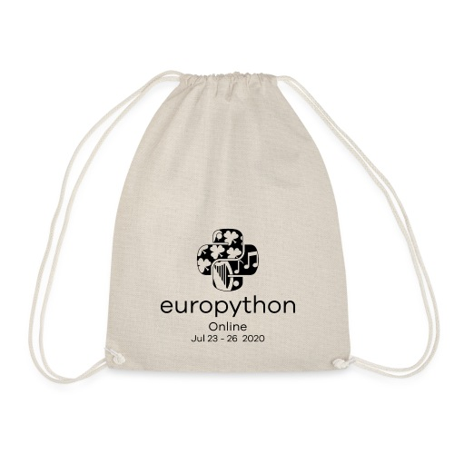 EuroPython 2020 - Vertical Black Logo - Drawstring Bag