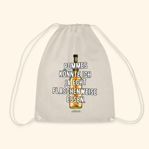 Lustiges Sprüche T-Shirt Flasche Pommes Frites - Turnbeutel