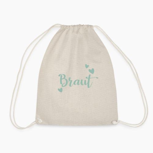 Braut-Schriftzug mit Herzen mintgrün - Drawstring Bag