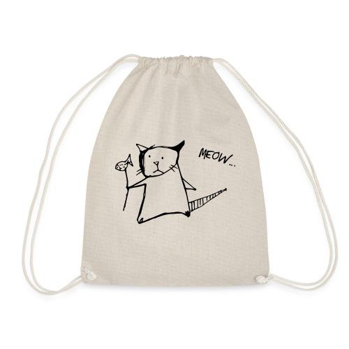 Katze mit Fisch Meow - Turnbeutel