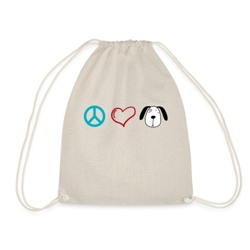 Hunde Liebe, Peace Love and Dogs - Turnbeutel