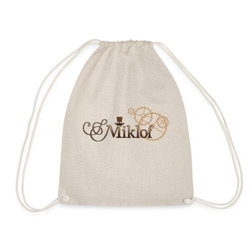 miklof logo gold wood gradient 3000px - Drawstring Bag