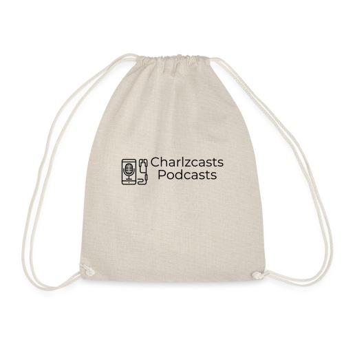Charlzcast Podcast Logo Black - Drawstring Bag