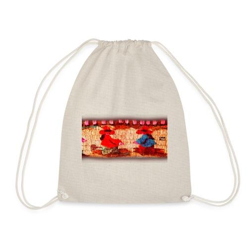 Dos Paisanitas tejiendo telar inca - Drawstring Bag