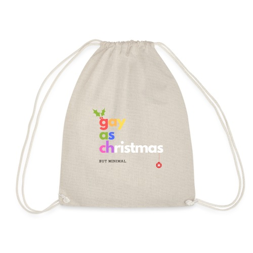 Gay as Christmas But Minimal - Drawstring Bag