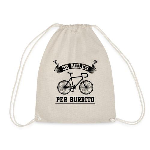 38 Miles Per Burrito schwarzes Fahrrad - Turnbeutel