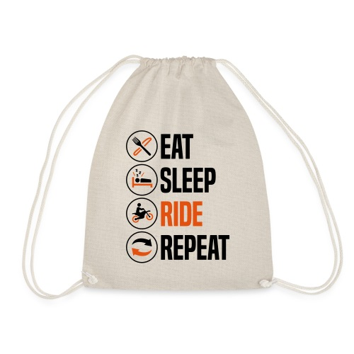 eat sleep ride repeat motocross 2col - Drawstring Bag