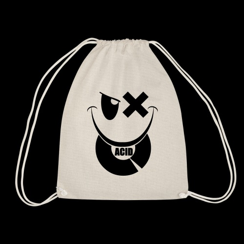 smiley acid techno vinyl - Drawstring Bag