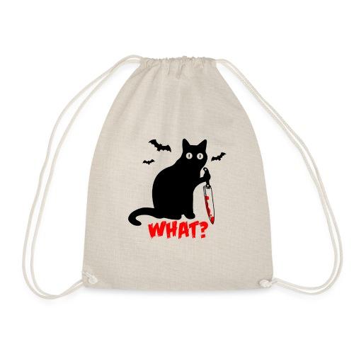 Was? Schwarze Psycho Katze mit Messer - Turnbeutel
