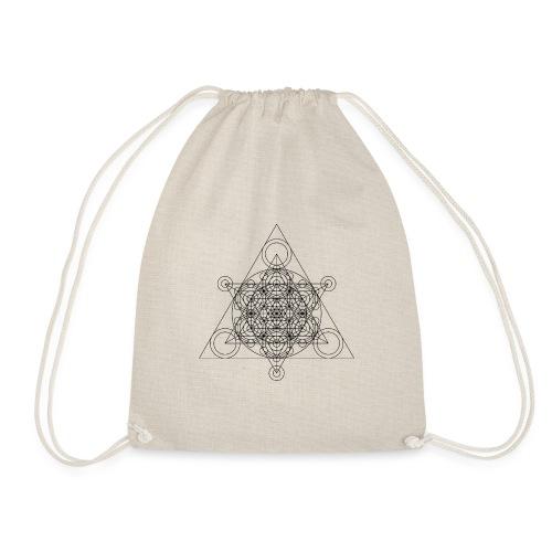 Sacred Geometry Seed, Flower. Tree Black - Drawstring Bag