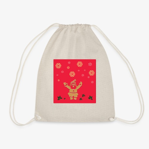 Santa Claus on a red background and snowflake - Drawstring Bag