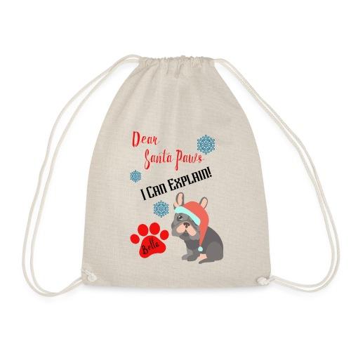 French Bulldog small Santa Sack - Drawstring Bag