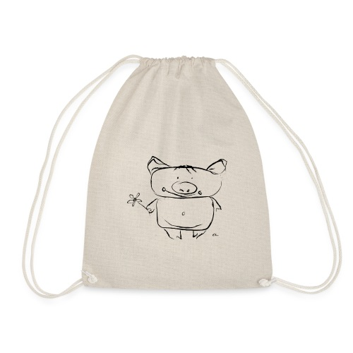 pig with the flower - Drawstring Bag