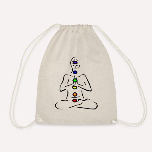 chakras illustrated - Drawstring Bag