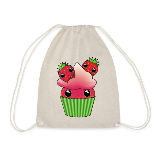 Cute strawberry kawaii cupcake - Drawstring Bag