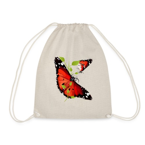 TWO BRIGHT ORANGE BUTTERF - Drawstring Bag