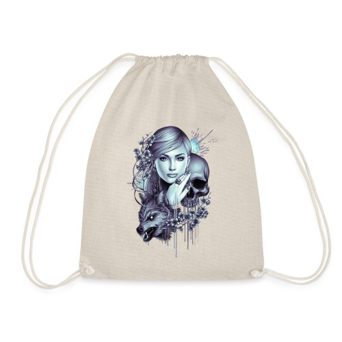 Wolf Skull Girl Tattoo - Drawstring Bag