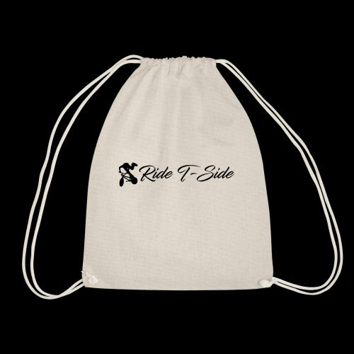 Ride T-Side - Logo and Text - Black - Drawstring Bag