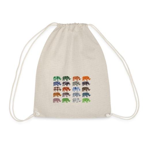 Multi Rhino - Drawstring Bag