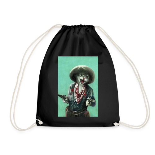 Vintage kitten Cow Girl - Drawstring Bag