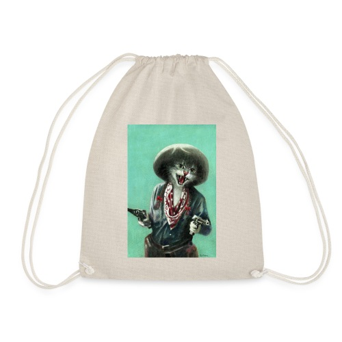 Vintage kitten Cow Girl - Drawstring Bag
