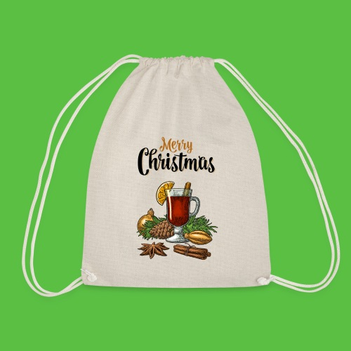 Merry Christmas , Glühwein - Turnbeutel