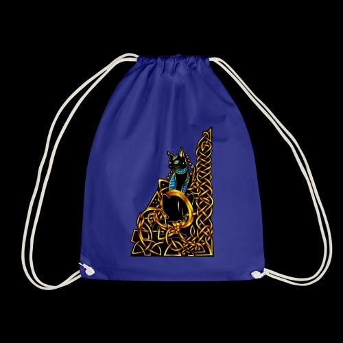 Celtic Cat - sitting - Drawstring Bag