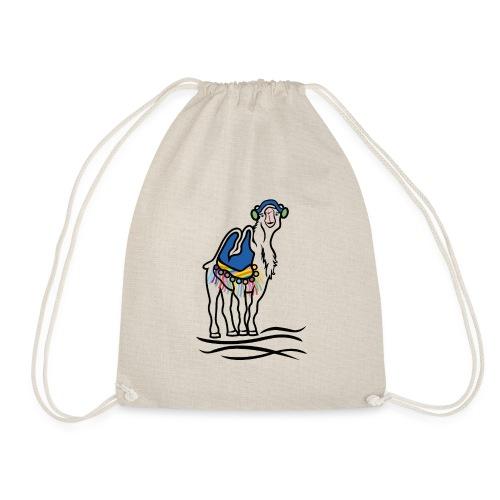 stylized camel with blanket - Drawstring Bag