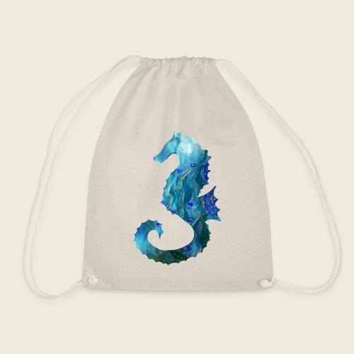 Seepferdchen blau türkis Kunst - Turnbeutel
