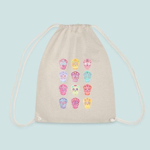 Watercolor Sugar Skulls - Drawstring Bag