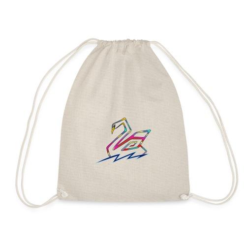 multicolored swan - Drawstring Bag