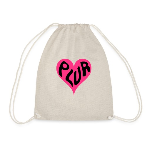 PLUR - Peace Love Unity and Respect love heart - Drawstring Bag