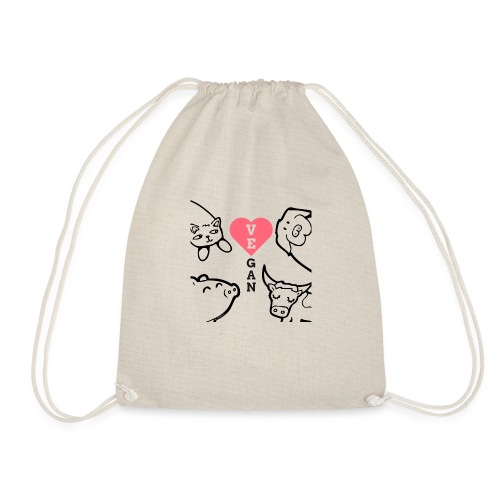 Vegan heart - Drawstring Bag