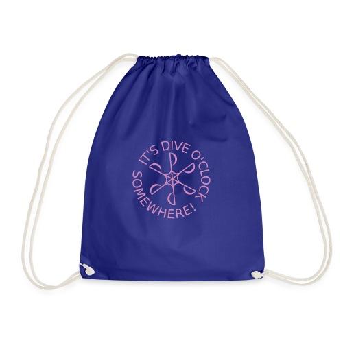 diveoclocklogodlpink png - Drawstring Bag