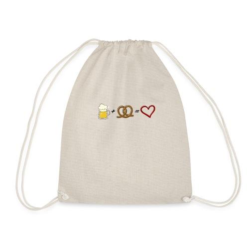 pretzel + beer = love - Drawstring Bag