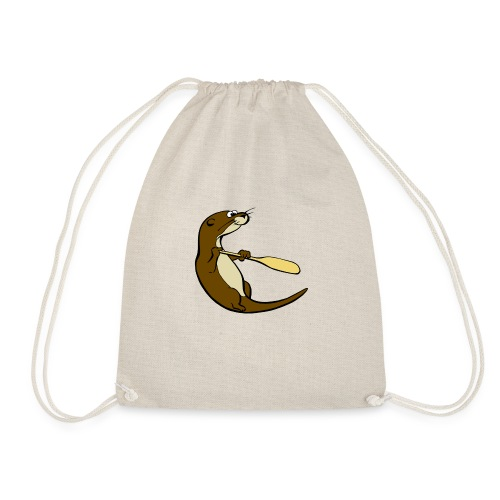 Classic Song of the Paddle otter logo - Drawstring Bag