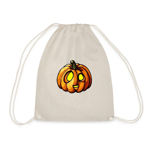 Pumpkin Halloween watercolor scribblesirii - Drawstring Bag