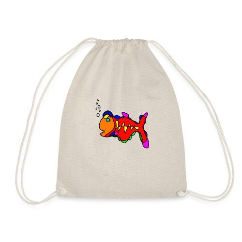 Tusche Fisch --- one line - Turnbeutel