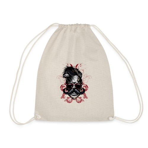 tete de mort hipster fioriture crane skull moustac - Sac de sport léger