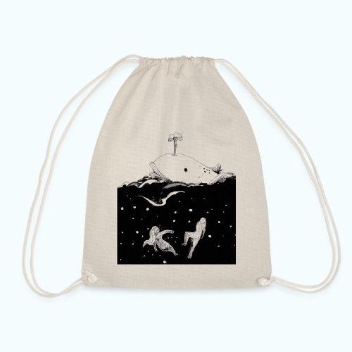 I LOVE WHALES real drawing - Drawstring Bag