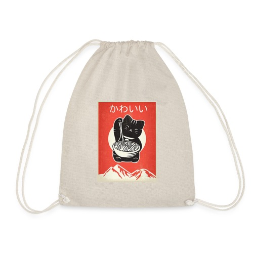Kawaii Vintage Style Japenese Ramen Cat - Drawstring Bag